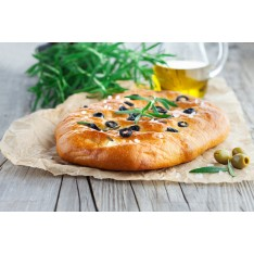 Foccacia aux olives, romarin et thym