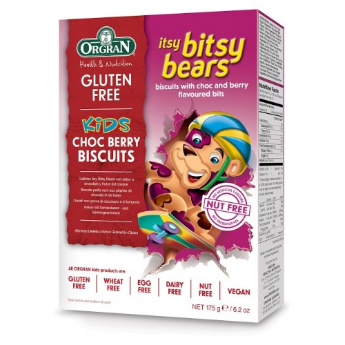 Orgran petits biscuits ours pépites choc baies175g