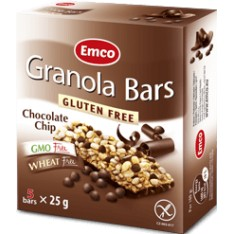 Emco granola bars chocolate chip 25g x 5 sans gluten